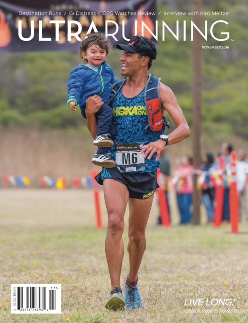 Jorge Maravilla runs through the Tamalpa Headlands 50K finishing chute with son Joaquin.Photo: Joe Viger