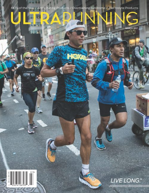 Pete Kostelnick dodging obstacles in New York City as he raced the final few miles of his FKT across the US. He averaged over 72 miles per day for just over 42 days straight. Photo: Zandy Mangold